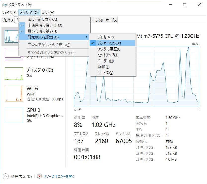Windowsタスクマネージャーの既定タブ設定